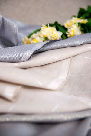 Gray Fabric and Linen Striped