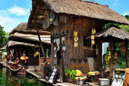 stilts: African village on Lakeside Stock Photo