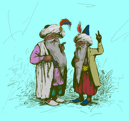 dispute: dispute between two sages illustration