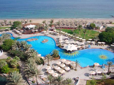Hotel Pool on beach  Le Meridien Al Aqah Beach Resort, Fujairah, United Arab Emirates                                Stock Photo - 12753977