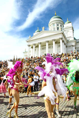 HELSINKI, FINLAND - JUNE 16: An unidentified dancers participate at the annual Samba Carnaval in Helsinki, Finland on June 16, 2012 Stock Photo - 14278123
