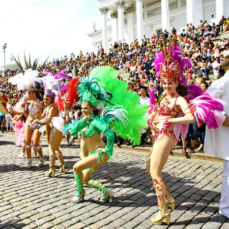 HELSINKI, FINLAND - JUNE 16: An unidentified dancers participate at the annual Samba Carnaval in Helsinki, Finland on June 16, 2012 Stock Photo - 14278102