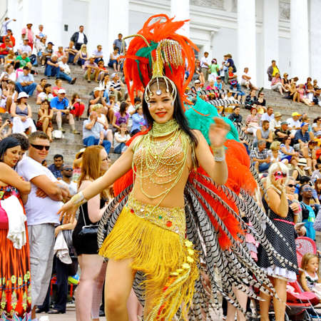 HELSINKI, FINLAND - JUNE 16: An unidentified dancer participates at the annual Samba Carnaval in Helsinki, Finland on June 16, 2012 Stock Photo - 14278077