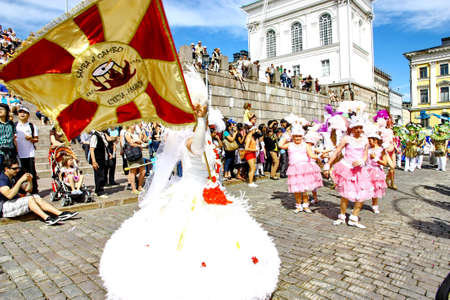 HELSINKI, FINLAND - JUNE 16: Unidentified dancers participate at the annual Samba Carnaval in Helsinki, Finland on June 16, 2012 Stock Photo - 14339507