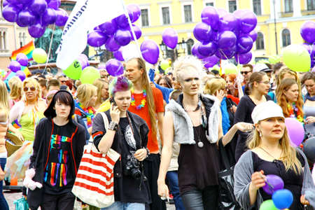 HELSINKI, FINLAND - JUNE 30: Unidentified people take part in the annual Helsinki Pride gay parade in Helsinki, Finland on June 30, 2012.  Stock Photo - 14339473