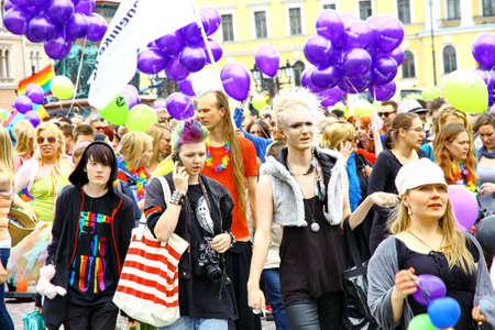 HELSINKI, FINLAND - JUNE 30: Unidentified people take part in the annual Helsinki Pride gay parade in Helsinki, Finland on June 30, 2012.  Stock Photo - 14339473