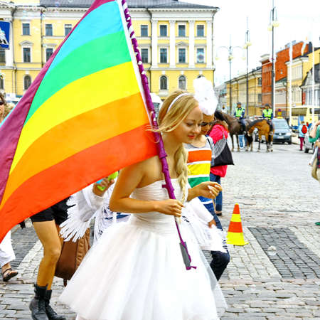 HELSINKI, FINLAND - JUNE 30: Unidentified people take part in the annual Helsinki Pride gay parade in Helsinki, Finland on June 30, 2012. Stock Photo - 17269183