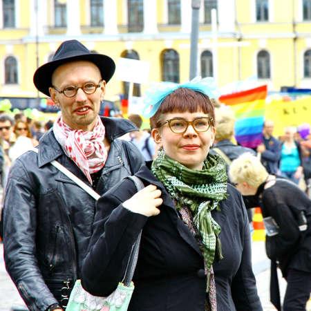 HELSINKI, FINLAND - JUNE 30: Unidentified people take part in the annual Helsinki Pride gay parade in Helsinki, Finland on June 30, 2012. Stock Photo - 17269175