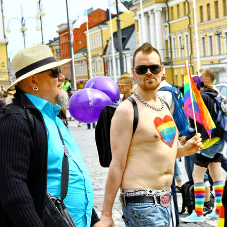 HELSINKI, FINLAND - JUNE 30: Unidentified people take part in the annual Helsinki Pride gay parade in Helsinki, Finland on June 30, 2012. Stock Photo - 17269176