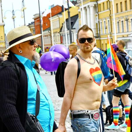 HELSINKI, FINLAND - JUNE 30: Unidentified people take part in the annual Helsinki Pride gay parade in Helsinki, Finland on June 30, 2012. Stock Photo - 17269176