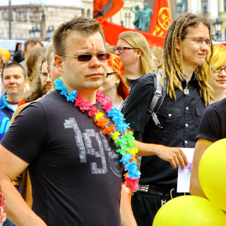 HELSINKI, FINLAND - JUNE 30: Unidentified people take part in the annual Helsinki Pride gay parade in Helsinki, Finland on June 30, 2012. Stock Photo - 17269181