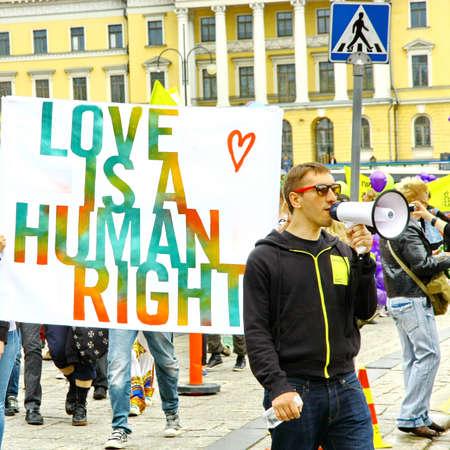 HELSINKI, FINLAND - JUNE 30: Unidentified people take part in the annual Helsinki Pride gay parade in Helsinki, Finland on June 30, 2012. Stock Photo - 17269182