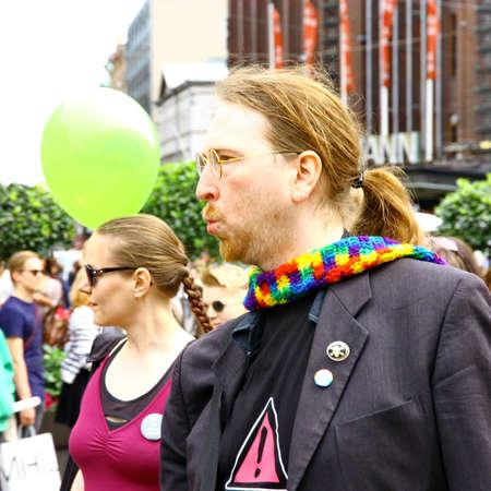 HELSINKI, FINLAND - JUNE 30: Unidentified people take part in the annual Helsinki Pride gay parade in Helsinki, Finland on June 30, 2012. Stock Photo - 17269179