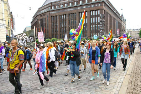 trans gender: HELSINKI, FINLAND - JUNE 30: Unidentified people take part in the annual Helsinki Pride gay parade in Helsinki, Finland on June 30, 2012.