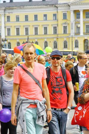 HELSINKI, FINLAND - JUNE 30: Unidentified people take part in the annual Helsinki Pride gay parade in Helsinki, Finland on June 30, 2012.