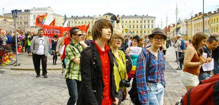 HELSINKI, FINLAND - JUNE 30: Unidentified people take part in the annual Helsinki Pride gay parade in Helsinki, Finland on June 30, 2012.  Stock Photo - 17436323