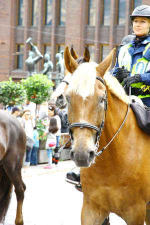 HELSINKI, FINLAND - JUNE 30: Mounted police protect people taking part in the annual Helsinki Pride gay parade in Helsinki, Finland on June 30, 2012.  Stock Photo - 17436328