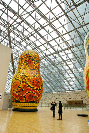 afimall: MOSCOW - JANUARY 4: Afimall on January 4, 2013 in Moscow, Russia. Exhibition of the giant Russian dolls - Matryoshka - in height from 6 to 13 meters in Shopping complex Afimall City.