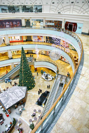 MOSCOW - JANUARY 4: Afimall on January 4, 2013 in Moscow, Russia. Shopping complex Afimall City is located in business center Moscow City. Total area Afimall-320 000 square meters Stock Photo - 17523227