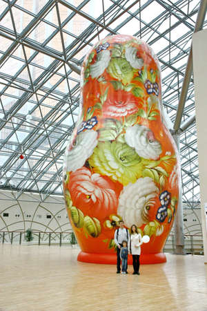 MOSCOW - JANUARY 4: Afimall on January 4, 2013 in Moscow, Russia. Exhibition of the giant Russian dolls - Matryoshka - in height from 6 to 13 meters in Shopping complex Afimall City. Stock Photo - 17523208