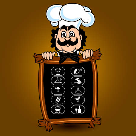 Chef offers a menu and a set of food icons. Vector illustration.