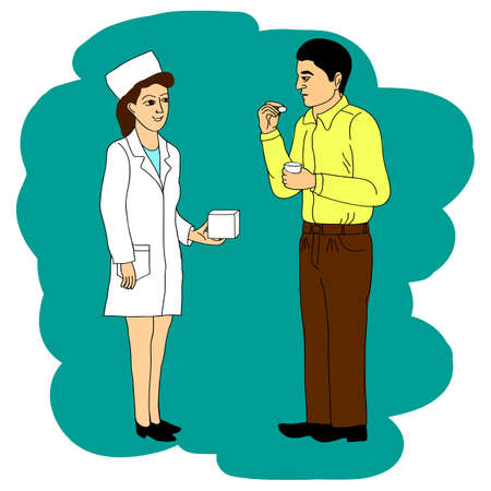 The doctor recommends the patient to cure the disease. Vector cartoon doodle illustration.