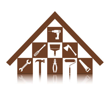 Set of icons on the theme of building tools for repair or alteration your house
