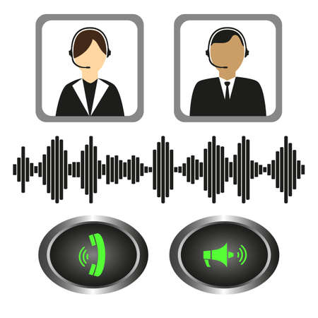 telephone icons: Vector set of icons telephone operators, call buttons and sound indicator. Illustration