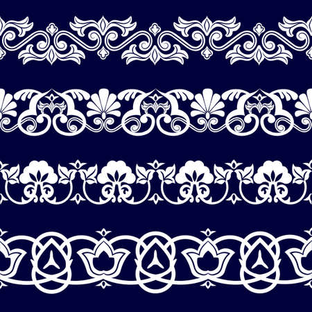 uniform curls: Symmetrical seamless pattern of white cotton ribbon on a blue background in the Uzbek national style