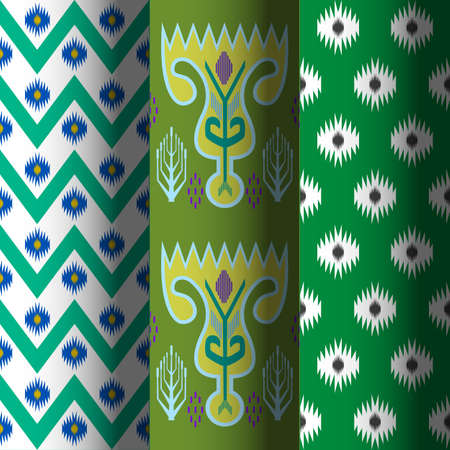 Vector set of seamless patterns in ethnic national style of Uzbekistan.