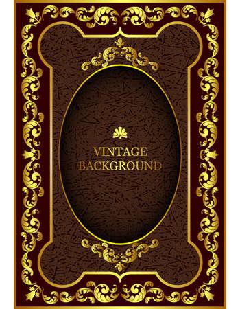 벡터 럭셔리 빈티지 테두리 골드 플로랄 패턴 프레임 바로크 스타일. 책 표지, 옛 왕실 페이지, 초대장, 축하 카드, 인증서, 자격증을위한 템플릿. 일러스트
