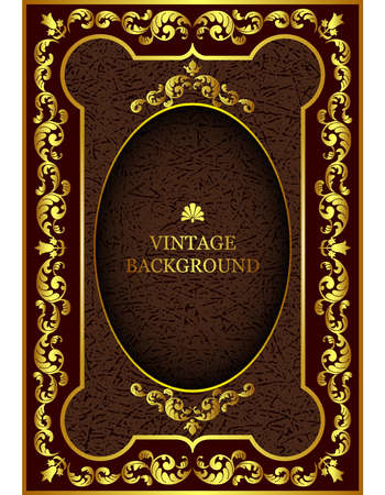 Vector luxury vintage border in the baroque style with gold floral pattern frame. The template for the book cover, old royal pages, invitations, greeting cards, certificates, diplomas. Ilustração