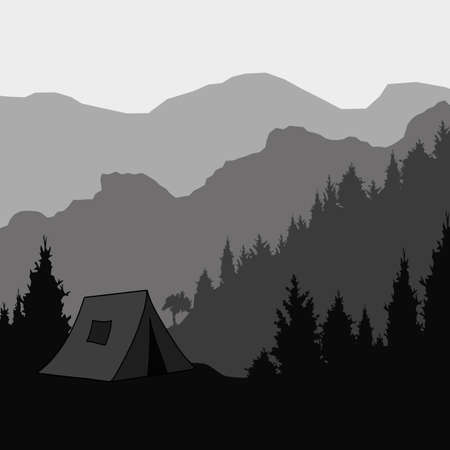rock layer: Silhouette of the mountain and the tent for trekking, vector illustration.