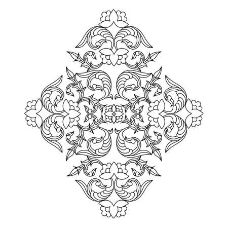 Vector outline floral pattern in ethnic national style of Uzbekistan. Illustration for the creation of textiles, wallpaper, batik, tiles, ornaments, wood carving.