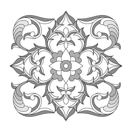 Vector pattern of elements in ethnic national style of Uzbekistan. Floral motifs to create textiles, tiles, wood carving.