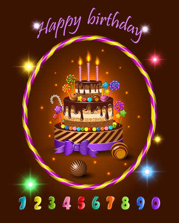Birthday celebration greeting card design Illustration