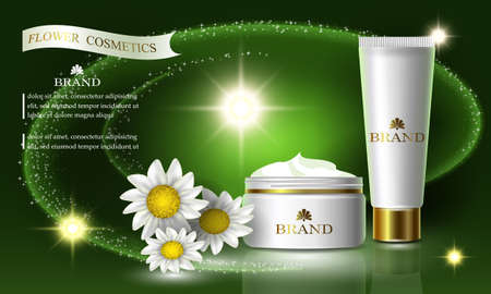 Cosmetics beauty flower series, ads of premium chamomile cream for skin care. Template for design poster, placard, presentation, banners, cover, vector illustration.