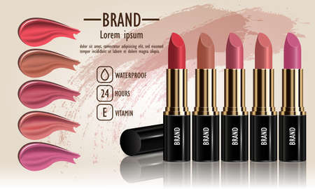 Cosmetics set of female lipstick cream and liquid smears different various of colors for makeup, template for a posters, banners, logos, realistic mockup vector illustration.