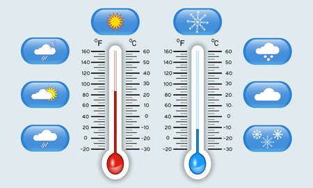 Celsius and Fahrenheit meteorology thermometers showing hot and cold temperature vector illustration