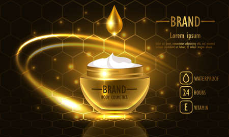 Cosmetics beauty series, premium Honey Cream packaging for skin care. Template for design poster, placard, presentation, banners, cover, vector illustration. Ilustrace