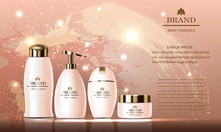 Cosmetic beauty set of body cream, gel, shampoo, soap, packing for skin care, white bottles on grunge background. Vector illustration. Ilustrace