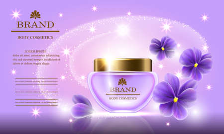 Cosmetic beauty set of body cream for skin care with violets on a purple background. Template for banners, pages, presentations, advertising, vector illustration.