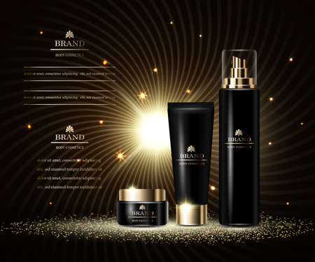 Cosmetics luxury beauty series, ads of premium body cream and spray for skin care. Template for design poster, placard, presentation, banners, cover, vector illustration.