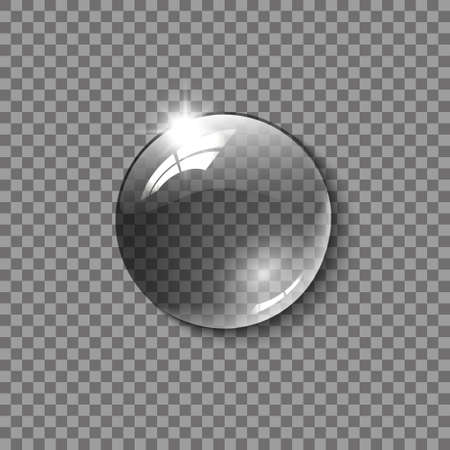 Realistic glass sphere, a drop of water on a transparent background, vector illustration.