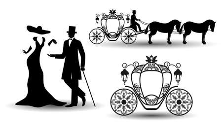 Vintage luxury wedding set, lady, gentleman and carriage. Old elements with carriage for design greeting cards, covers, posters, invitations. Vector illustration.