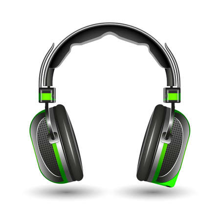 Headphones, isolated on a white background, vector illustration. Ilustrace