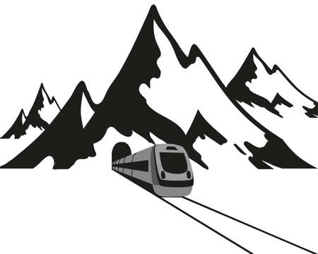 Mountains and the train leaves the tunnel, black logo on a white background. Vector illustration. 矢量图像