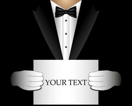 Vector waiter in a tuxedo with a blank template for invitation, offer, billboard.