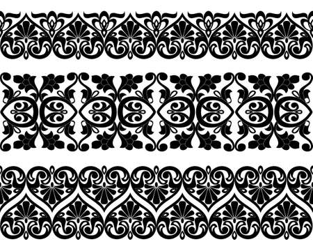 A Vector set of Asian seamless tape, ribbon patterns in the form of cotton flower in Uzbek national style.