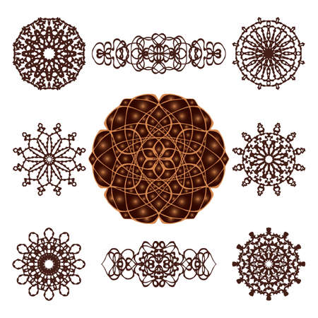 Vector set of round mandala patterns and ribbon elements. Geometric templates for creating festive invitations, holiday, Indian and Arabic design, kaleidoscope. Ilustrace